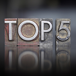 """Printing Press letters that spell out """"Top 5"""""""