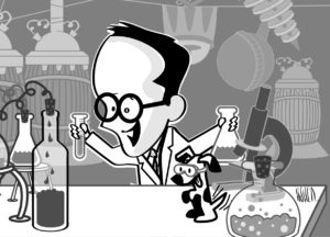 Wine Geek Scientist Cartoon